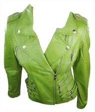 100% Ladies Real Leather Jacket Short Fitted Bikers Style Retro Apple Green Rock