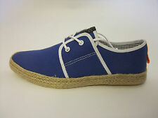 Fish 'n' Chips by Base London Spam Canvas Trainers Blue BNIB FREE P&P