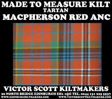 MACPHERSON RED ANC TARTAN KILT 100% WOOL KILT MADE TO MEASURE MADE IN SCOTLAND