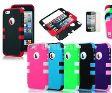 Apple iPhone 5 3-pieces Hybrid Hard Silicone Impact Case + Free Screen Protector