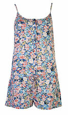 Womens Playsuits Shorts Ladies All In One Floral Flower Button Summer Vest