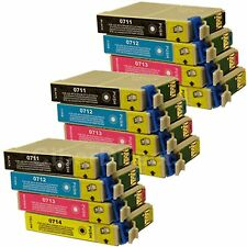 12 Generic Replacements for Epson T0715 Printer Ink Cartridges. UK VAT Invoice.