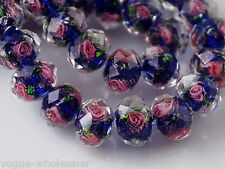 20pcs 12mm Rose Flower Rondelle Faceted Lampwork Glass Finding Charm Loose Beads