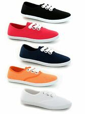 WOMENS LADIES GIRLS CANVAS LACE UP PUMPS SHOES TRAINERS 3 - 8 NEW