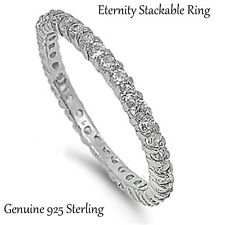 Clear CZ  Sterling Silver Eternity Stackable Ring - Sizes 4 - 10