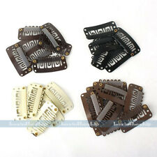 100pcs Beige Dark / Light Brown Black U Shaped Snap Clips For Hair Extensions