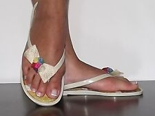 Womens Jelly sandals Beige with Bow thong sandals Flip Flop Canvas  Size 5-10