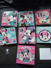OFFICIAL DISNEY MINNIE MOUSE ~ Birthday Card ~ RELATION, AGE and OPEN Cards