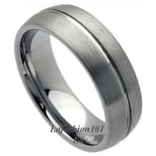 Grooved Center Brush Surface Mens Tungsten Wedding Band Ring SIZE 9,10,11,12,13