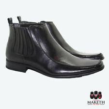 New Maketh Mens Formal Dress Boot Leather Lined Black Slip On Casual