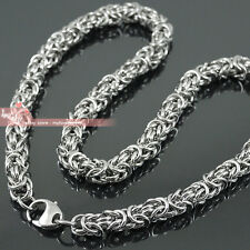 Mens 8mm Handcrafted Stainless Steel Byzantine Chain Maille Necklace