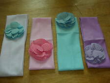 baby,girl cotton headband hairband polka dot flower  blue, pink, white & purple