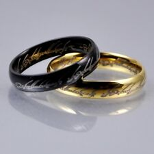 Lord of the Rings Stainless Steel Mens Women Band Ring 4mm Gold/Black