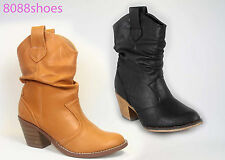 Women's Classic Round Toe Slouchy Western Cowboy Ankle Bootie Shoes Black Camel