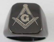 Men's Masonic Ring Black Stainless Steel Multiple Sizes