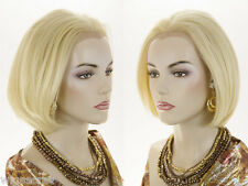 Short HumanBlend Lace Front Heat-Resistant Blonde Brunette Red Straight Wigs