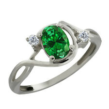 Stunning 3-Stone Oval Green Simulated Emerald 925 Sterling Silver Ring