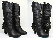 Women's Boots Studded Ankle Strap Back Slouchy Cowboy Heel Shoes Black Size 5-10