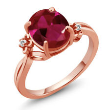 3.38 Ct Oval Red Created Ruby Sapphire Rose Gold Plated Sterling Silver Ring
