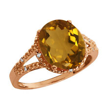 3.55 Ct Oval Champagne Quartz and Topaz Gold Plated 925 Silver Ring