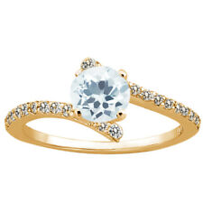 1.09 Ct Round Sky Blue Aquamarine 925 Yellow Gold Plated Silver Ring