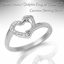 Genuine Sterling Silver Heart / Dolphin Ring w/ Clear CZ