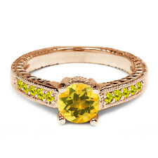 0.33 Ct Round Yellow Citrine Canary Diamond 925 Rose Gold Plated Silver Ring