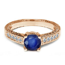 0.31 Ct Round Blue Sapphire White Diamond 925 Rose Gold Plated Silver Ring