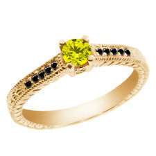 0.34 Ct Round Canary and Black Diamond 925 Yellow Gold Plated Silver Ring