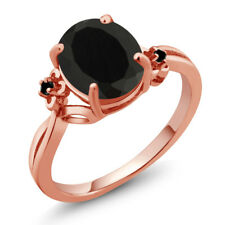 2.22 Ct Oval Black Onyx Diamond Rose Gold Plated 925 Silver Ring
