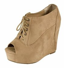 Fia! Soda Hidden Platform Wedge Peep-toe Ankle Bootie in Light Taupe Faux Suede