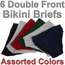 6 Pairs Mens Double Front Bikini Briefs 100% Cotton Lined Underwear Plain Solid