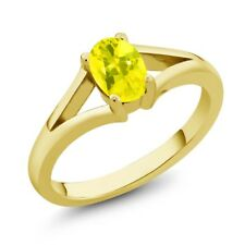 0.95 Ct Oval Canary Mystic Topaz Yellow Gold Plated Silver Ring