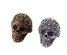 Vintage punk biker goth style skull ring multiple colours and sizes