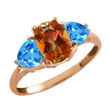 2.76 Ct Oval Ecstasy Mystic Topaz and Topaz Gold Plated 925 Silver Ring
