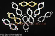 Glass Crystal Rhinestone Pave 8 Shape Bracelet Finding Link Connectors 30x8mm