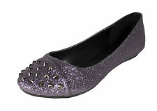 Gloria! City Classified Round Toe Oxford Ballet Flats in Pewter Glitter