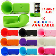 For Apple iPhone 4 4S Portable Silicone Horn Stand Audio Dock Amplifier Speaker