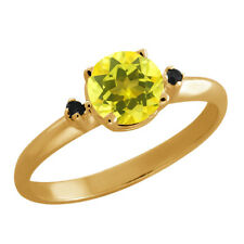 1.02 Ct Round Canary Mystic Topaz Black Diamond Gold Plated 925 Silver Ring