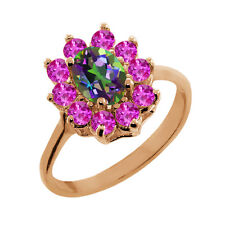 1.45 Ct Oval Mystic Topaz Pink Sapphire Gold Plated 925 Silver Ring