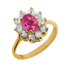 1.35 Ct Oval Pink Mystic Topaz Topaz Gold Plated 925 Silver Ring