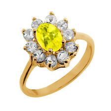 1.35 Ct Oval Canary Mystic Topaz Topaz Gold Plated 925 Silver Ring