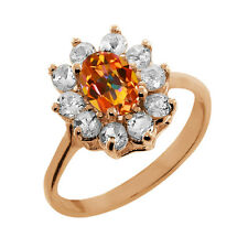1.35 Ct Oval Ecstasy Mystic Topaz Topaz Gold Plated 925 Silver Ring