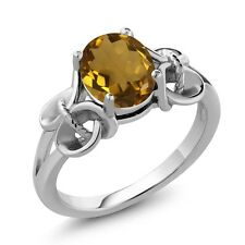 1.60 Ct Oval Whiskey Quartz Sterling Silver Ring
