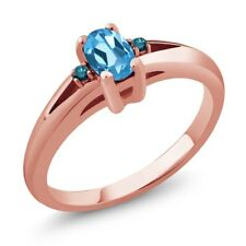 0.59 Ct Swiss Blue Oval Topaz and Diamond Rose Gold Plated Silver Ring