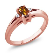 0.44 Ct Orange Red Oval Madeira Citrine and Topaz Rose Gold Plated Silver Ring