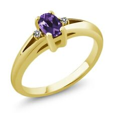 0.49 Ct Purple Oval Amethyst and Diamond Yellow Gold Plated Silver Ring
