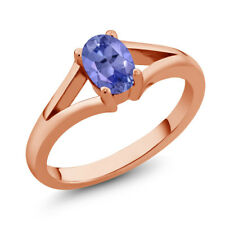 0.75 Ct Oval Blue Tanzanite Rose Gold Plated Silver Ring