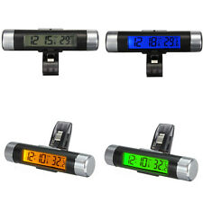 Car Air Vent Clip-on Stick On Electronic Clock + Thermometer Digital LCD Display
