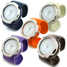 Geneva Large Face Bold Case Bangle Cuff Watch for Women - 7 Color Choice